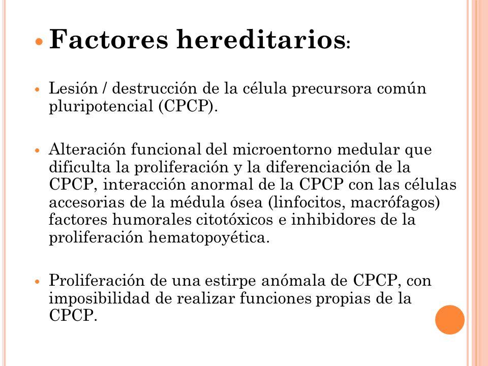 Factores hereditarios : Lesión / destrucción de la célula precursora común pluripotencial (CPCP). Alteración funcional del microentorno medular que di