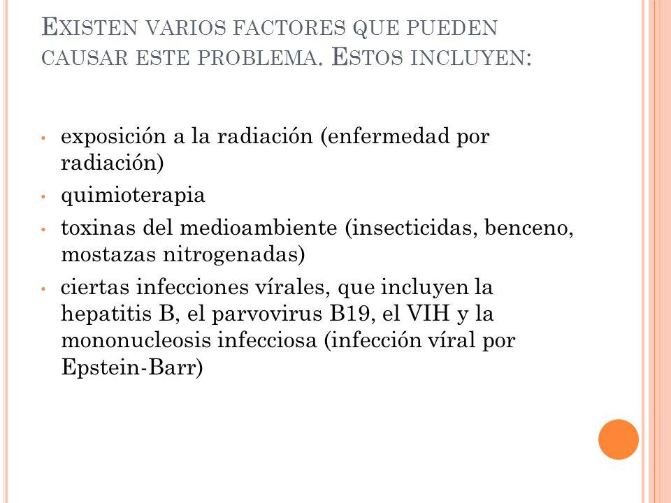 1.Granulocitos <500/ mm³. 2. Plaquetas <20,000/ mm³.