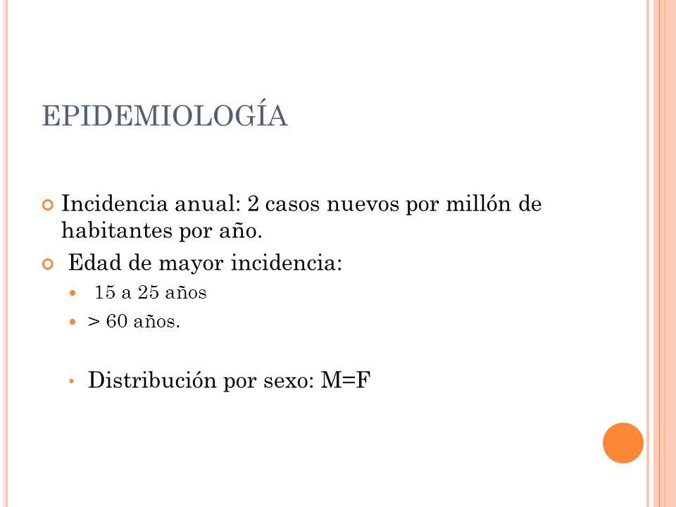 EPIDEMIOLOGÍA Incidencia anual: 2 casos nuevos por millón de habitantes por año. Edad de mayor incidencia: 15 a 25 años > 60 años. Distribución por se