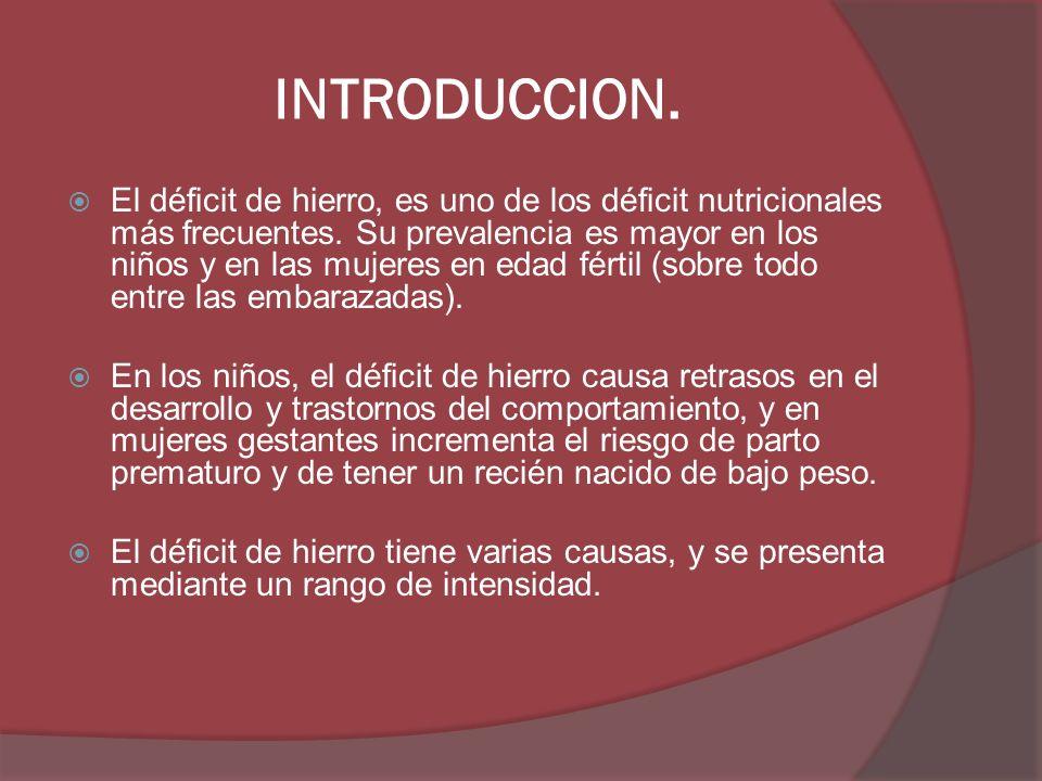 INTRODUCCION. El déficit de hierro, es uno de los déficit nutricionales más frecuentes. Su prevalencia es mayor en los niños y en las mujeres en edad