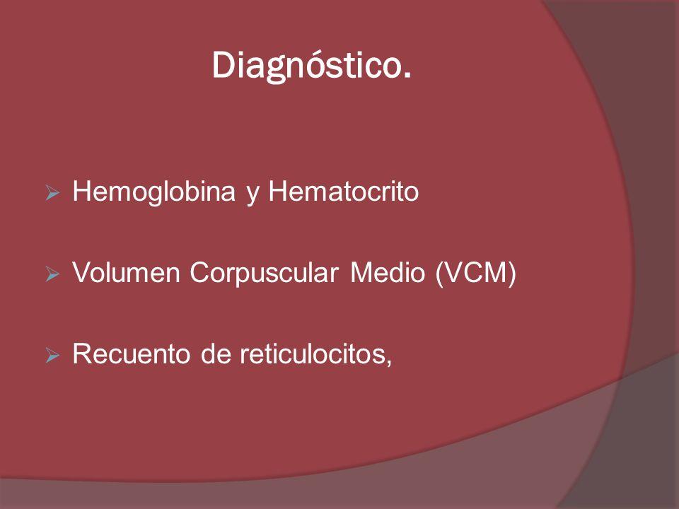 Diagnóstico. Hemoglobina y Hematocrito Volumen Corpuscular Medio (VCM) Recuento de reticulocitos,