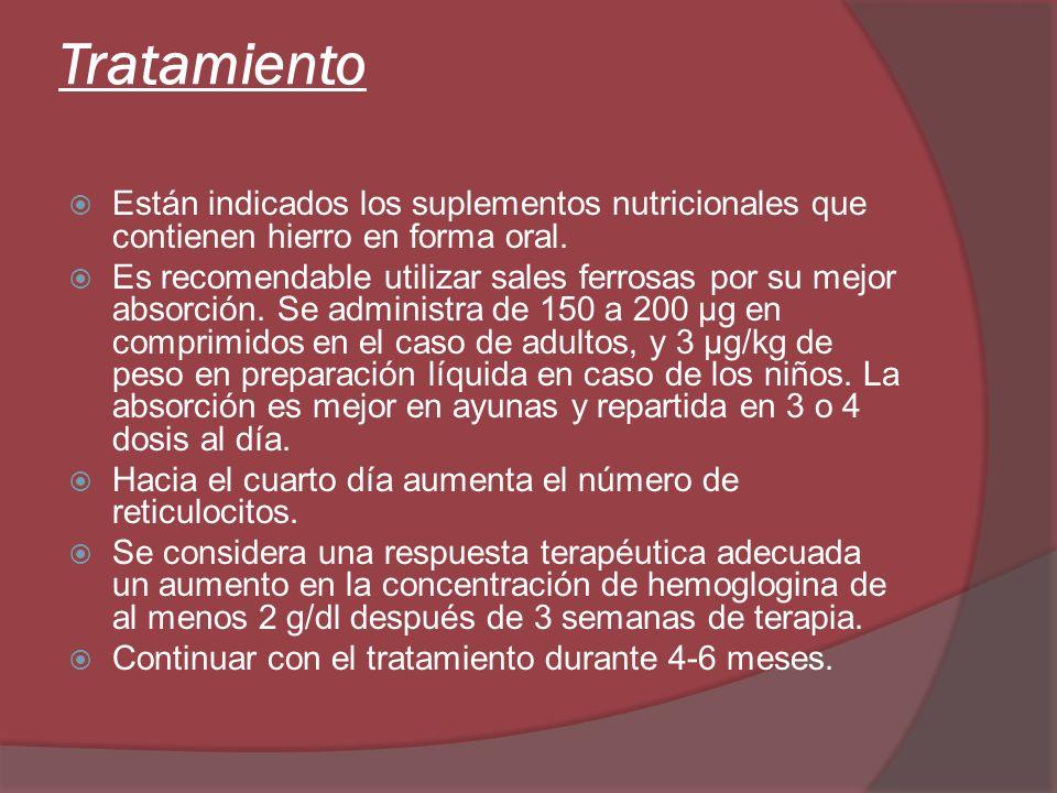 Tratamiento Están indicados los suplementos nutricionales que contienen hierro en forma oral. Es recomendable utilizar sales ferrosas por su mejor abs