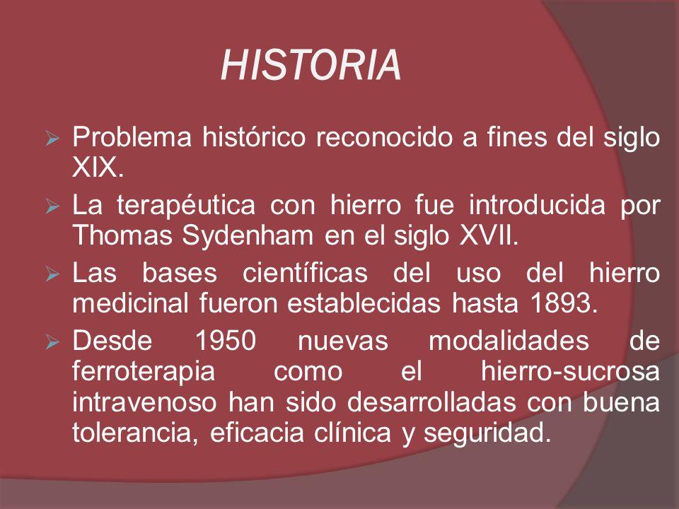 HISTORIA Problema histórico reconocido a fines del siglo XIX. La terapéutica con hierro fue introducida por Thomas Sydenham en el siglo XVII. Las base