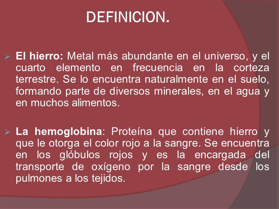 DEFINICION. El hierro: Metal más abundante en el universo, y el cuarto elemento en frecuencia en la corteza terrestre. Se lo encuentra naturalmente en