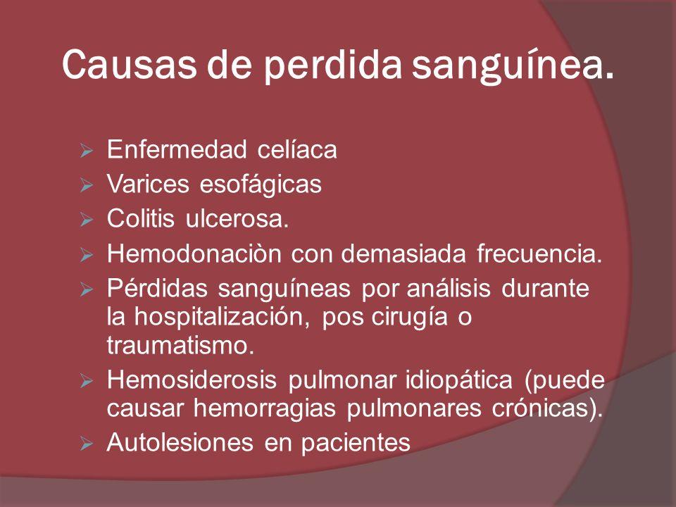 Causas de perdida sanguínea. Enfermedad celíaca Varices esofágicas Colitis ulcerosa. Hemodonaciòn con demasiada frecuencia. Pérdidas sanguíneas por an
