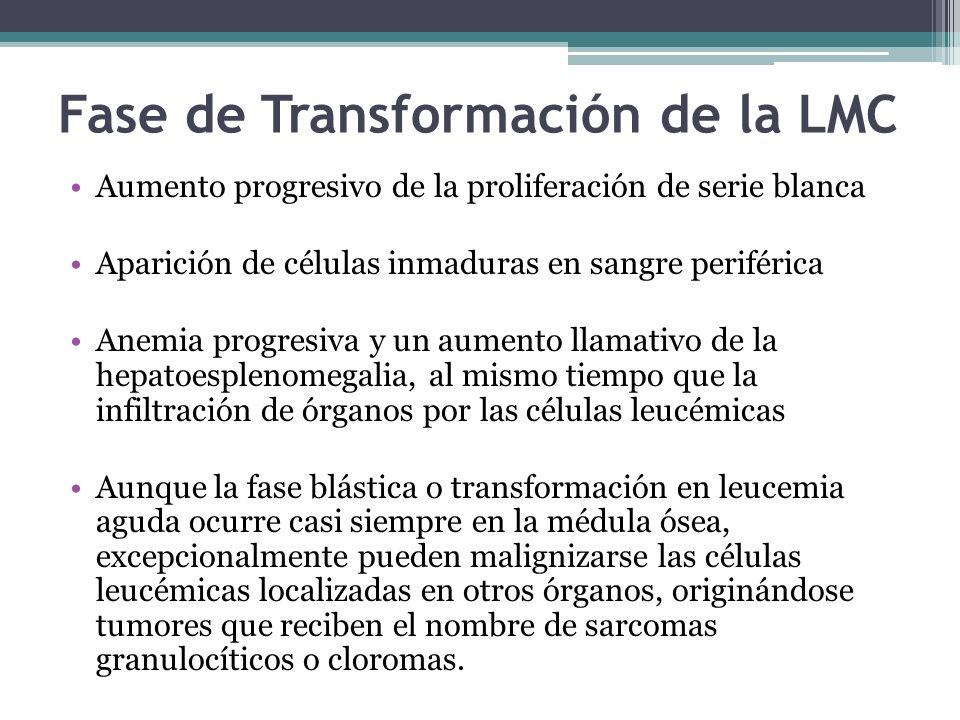 Fase de Transformación de la LMC Aumento progresivo de la proliferación de serie blanca Aparición de células inmaduras en sangre periférica Anemia pro