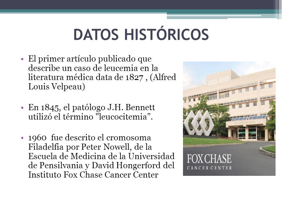DATOS HISTÓRICOS El primer artículo publicado que describe un caso de leucemia en la literatura médica data de 1827, (Alfred Louis Velpeau) En 1845, e