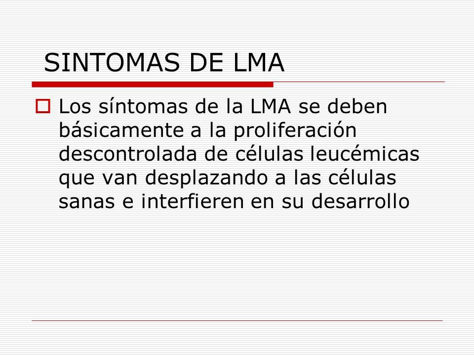 SINTOMAS DE LMA Los síntomas de la LMA se deben básicamente a la proliferación descontrolada de células leucémicas que van desplazando a las células s