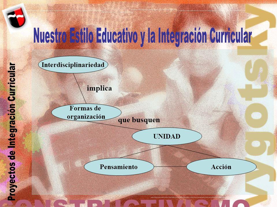 Interdisciplinariedad Formas de organización UNIDAD PensamientoAcción implica que busquen