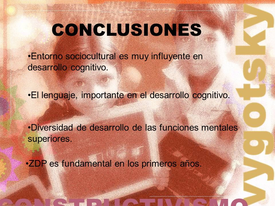 CONCLUSIONES Entorno sociocultural es muy influyente en desarrollo cognitivo. ZDP es fundamental en los primeros años. Diversidad de desarrollo de las