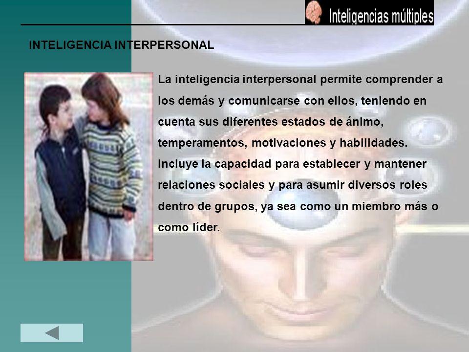 INTELIGENCIA INTERPERSONAL La inteligencia interpersonal permite comprender a los demás y comunicarse con ellos, teniendo en cuenta sus diferentes est