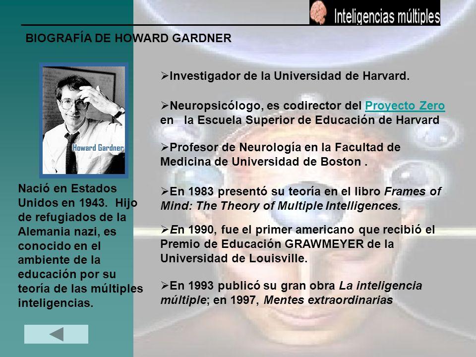 BIOGRAFÍA DE HOWARD GARDNER Nació en Estados Unidos en 1943. Hijo de refugiados de la Alemania nazi, es conocido en el ambiente de la educación por su