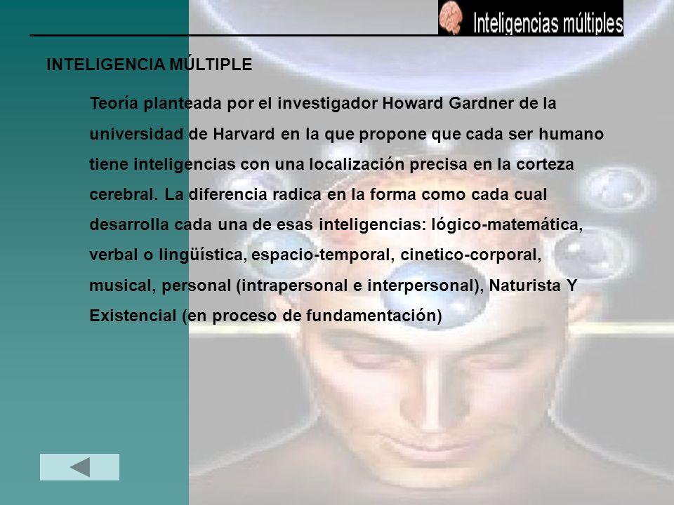 INTELIGENCIA MÚLTIPLE Teoría planteada por el investigador Howard Gardner de la universidad de Harvard en la que propone que cada ser humano tiene int