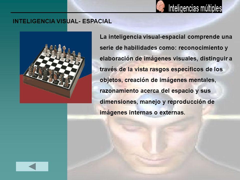 INTELIGENCIA VISUAL- ESPACIAL La inteligencia visual-espacial comprende una serie de habilidades como: reconocimiento y elaboración de imágenes visual