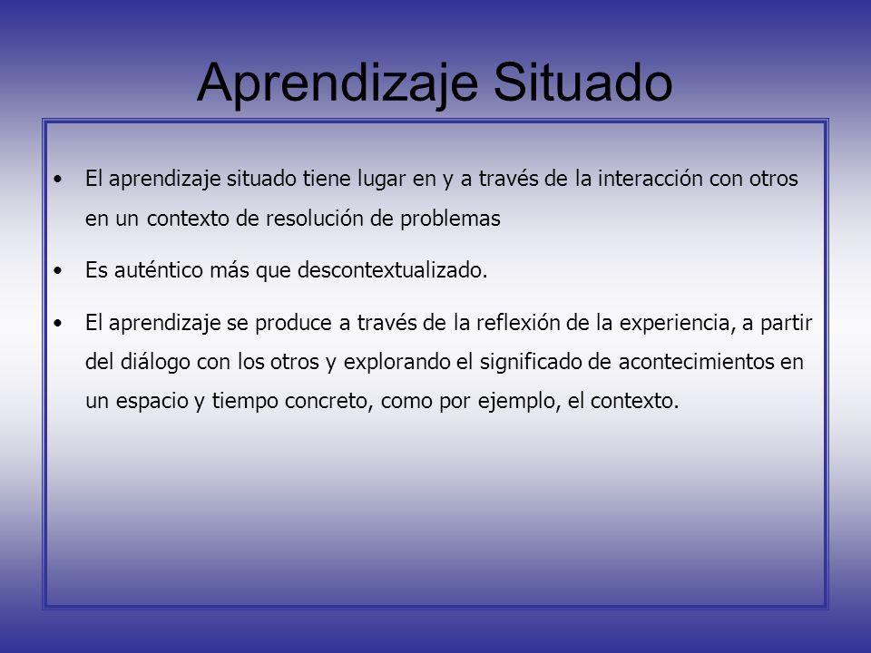 Aprendizaje Situado El aprendizaje situado tiene lugar en y a través de la interacción con otros en un contexto de resolución de problemas Es auténtic