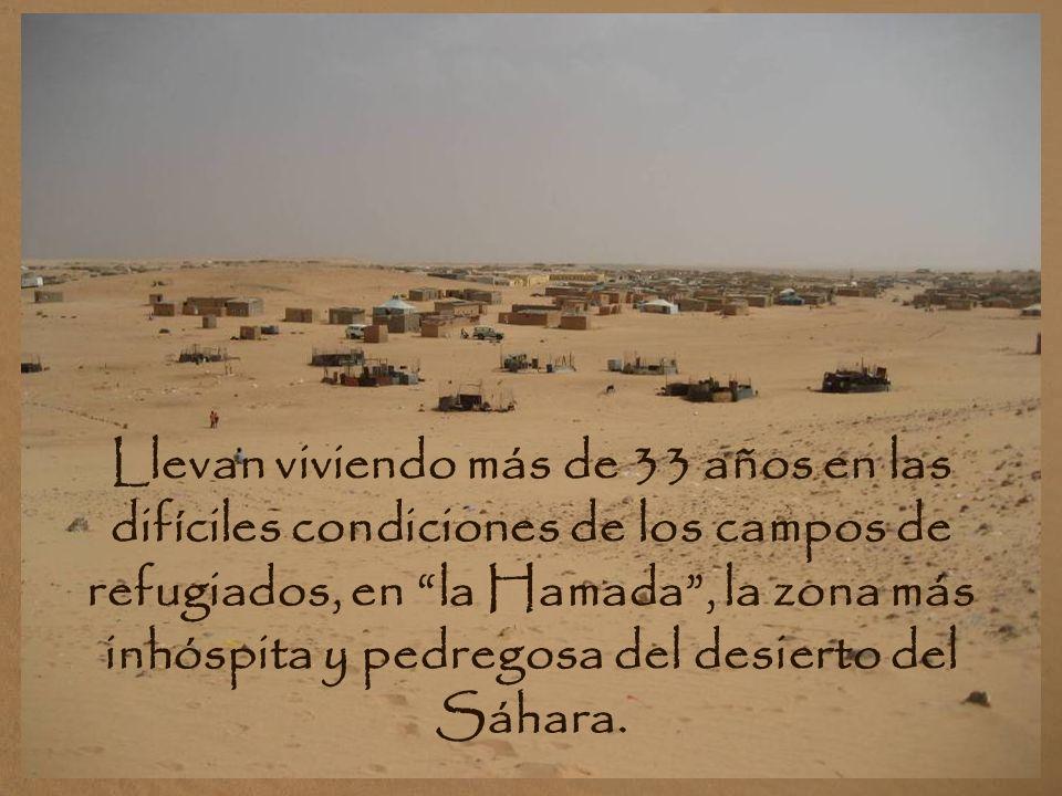 CAMPOS DE REFUGIADOS: En territorio argelino. Se estima que viven 165.000 habitantes. Viven gracias a la ayuda humanitaria. Un gobierno del Frente Pol