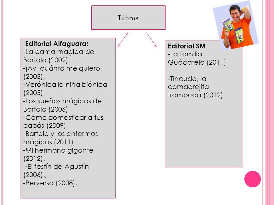 Libros. Editorial Alfaguara: -La cama mágica de Bartolo (2002), -¡Ay, cuánto me quiero! (2003), -Verónica la niña biónica (2005) -Los sueños mágicos d