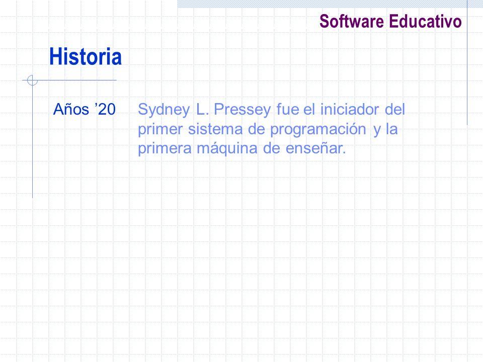 Software Educativo Historia Años 20Sydney L. Pressey fue el iniciador del primer sistema de programación y la primera máquina de enseñar.