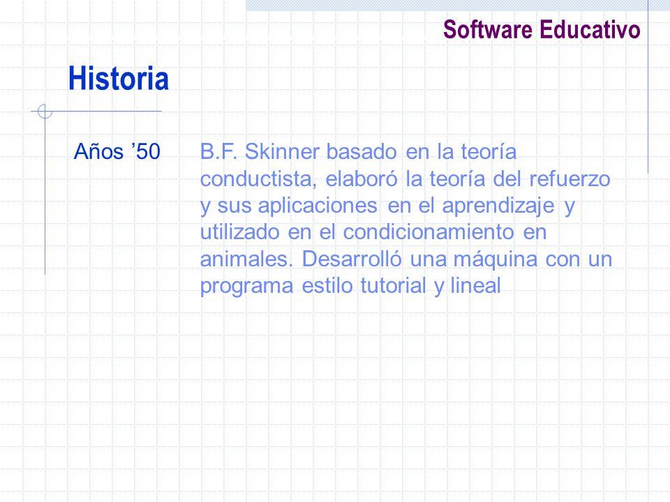Software Educativo Años 50B.F. Skinner basado en la teoría conductista, elaboró la teoría del refuerzo y sus aplicaciones en el aprendizaje y utilizad