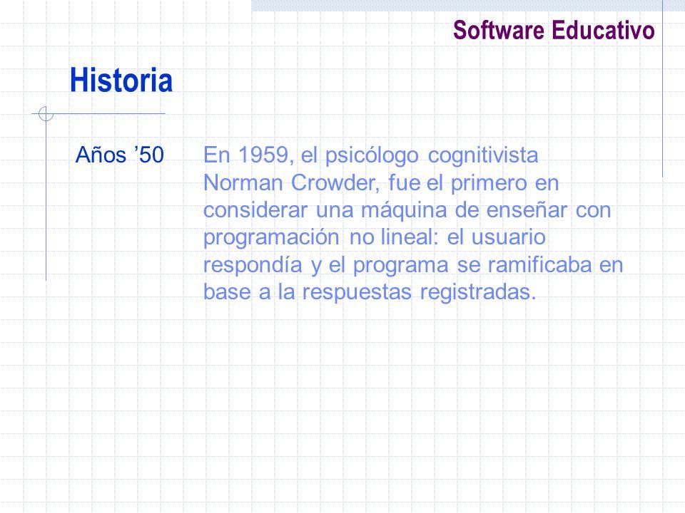 Software Educativo Años 50En 1959, el psicólogo cognitivista Norman Crowder, fue el primero en considerar una máquina de enseñar con programación no l