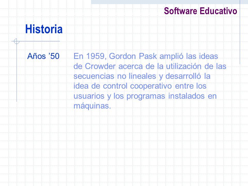 Software Educativo Años 50En 1959, Gordon Pask amplió las ideas de Crowder acerca de la utilización de las secuencias no lineales y desarrolló la idea