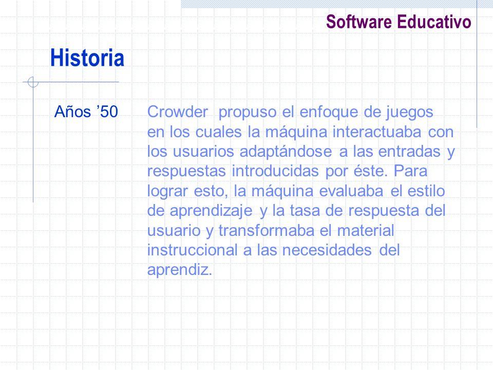 Software Educativo Años 50Crowder propuso el enfoque de juegos en los cuales la máquina interactuaba con los usuarios adaptándose a las entradas y res