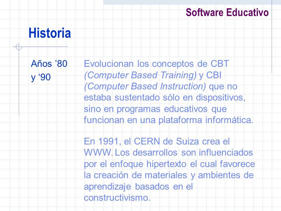 Software Educativo Años 80 y 90 Evolucionan los conceptos de CBT (Computer Based Training) y CBI (Computer Based Instruction) que no estaba sustentado