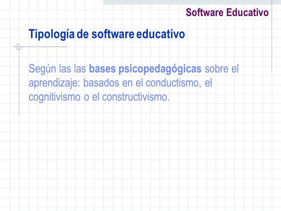Software Educativo Según las las bases psicopedagógicas sobre el aprendizaje: basados en el conductismo, el cognitivismo o el constructivismo. Tipolog