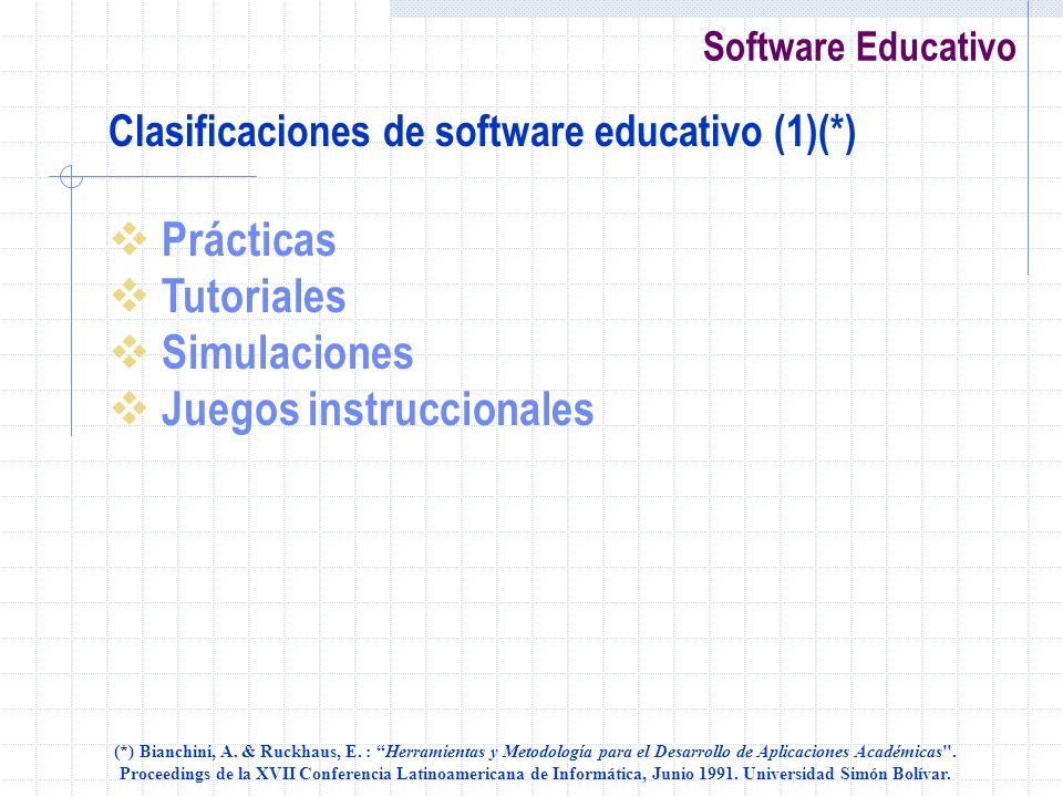 Software Educativo Clasificaciones de software educativo (1)(*) Prácticas Tutoriales Simulaciones Juegos instruccionales (*) Bianchini, A. & Ruckhaus,