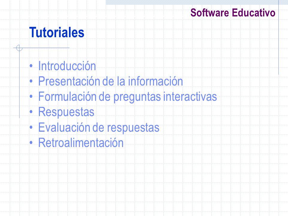Software Educativo Tutoriales Introducción Presentación de la información Formulación de preguntas interactivas Respuestas Evaluación de respuestas Re