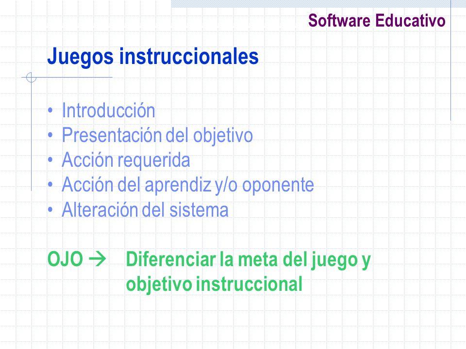 Software Educativo Juegos instruccionales Introducción Presentación del objetivo Acción requerida Acción del aprendiz y/o oponente Alteración del sist