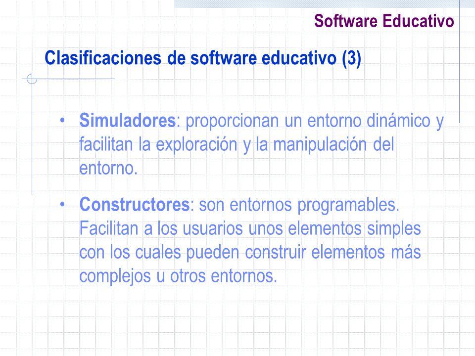 Software Educativo Clasificaciones de software educativo (3) Simuladores : proporcionan un entorno dinámico y facilitan la exploración y la manipulaci