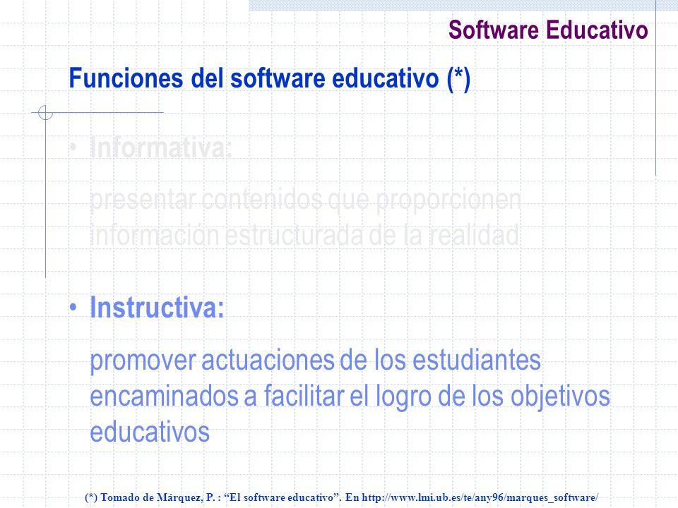 Software Educativo Funciones del software educativo (*) Informativa: presentar contenidos que proporcionen información estructurada de la realidad Ins
