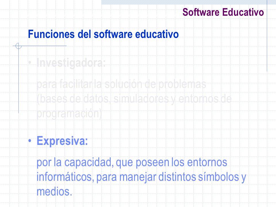 Software Educativo Funciones del software educativo Investigadora: para facilitar la solución de problemas (bases de datos, simuladores y entornos de