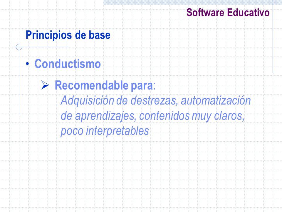 Software Educativo Principios de base Conductismo Recomendable para : Adquisición de destrezas, automatización de aprendizajes, contenidos muy claros,