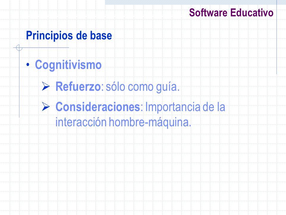 Software Educativo Principios de base Cognitivismo Refuerzo : sólo como guía. Consideraciones : Importancia de la interacción hombre-máquina.