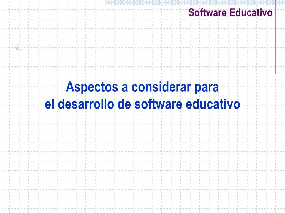 Software Educativo Aspectos a considerar para el desarrollo de software educativo