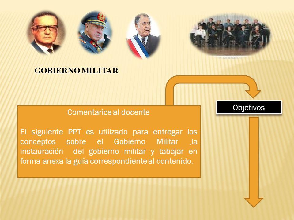 Comentarios al docente El siguiente PPT es utilizado para entregar los conceptos sobre el Gobierno Militar,la instauración del gobierno militar y taba