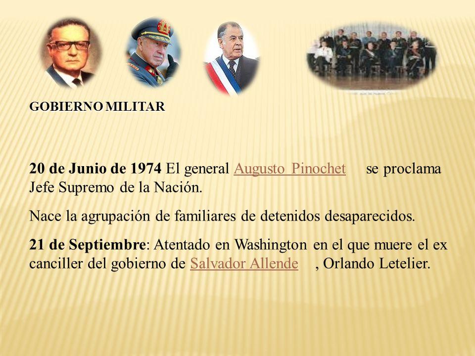 20 de Junio de 1974 El general Augusto Pinochet se proclama Jefe Supremo de la Nación. Nace la agrupación de familiares de detenidos desaparecidos. 21
