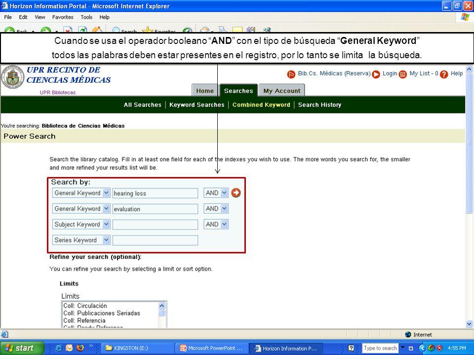 Cuando se usa el operador booleano AND con el tipo de búsqueda General Keyword todos las palabras deben estar presentes en el registro, por lo tanto s