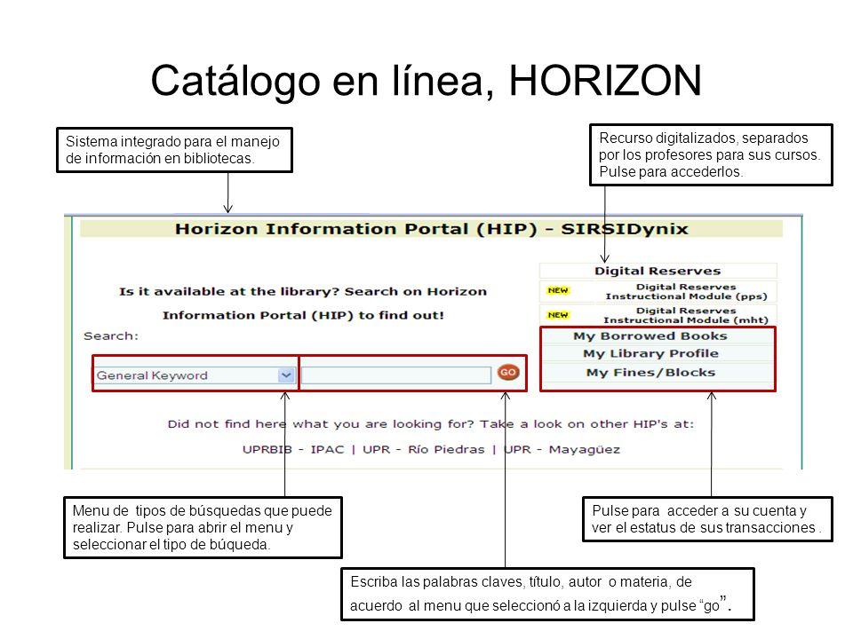 Catálogo en línea, HORIZON Sistema integrado para el manejo de información en bibliotecas. Recurso digitalizados, separados por los profesores para su