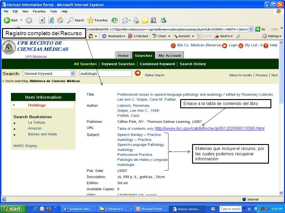 Enlace a la tabla de contenido del libro Materias que incluye el recurso, por las cuales podemos recuperar información Registro completo del Recurso