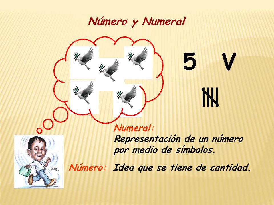 5 Número y Numeral Idea que se tiene de cantidad. Representación de un número por medio de símbolos. Número: Numeral: V