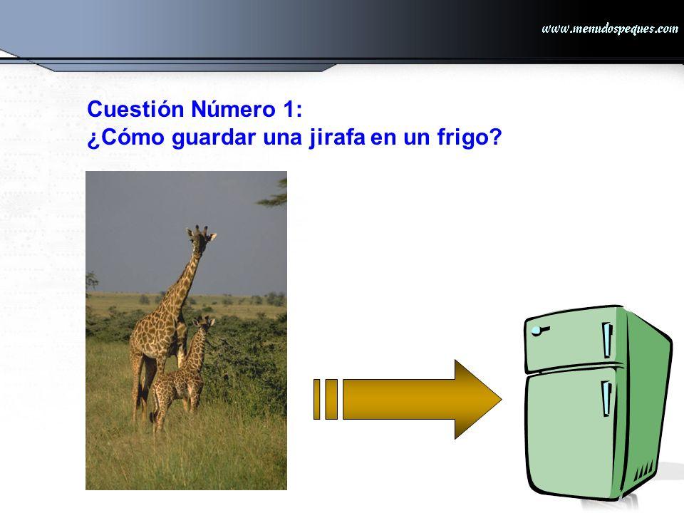 La respuesta correcta es: Abra el frigo, coloque la jirafa dentro y cierre la puerta.