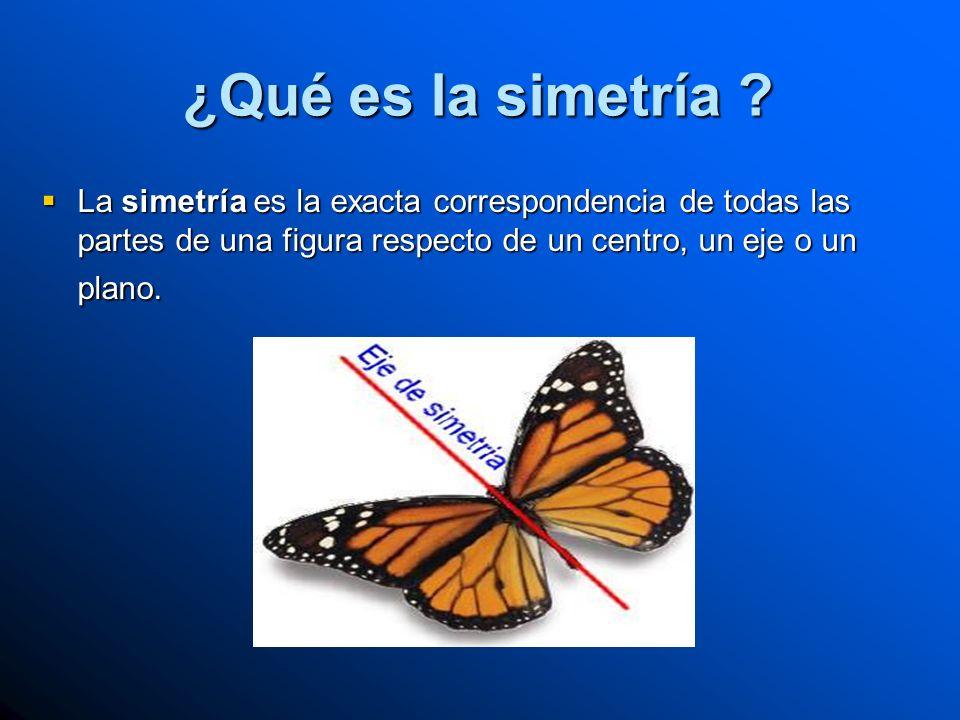 ¿Qué es la simetría ? La simetría es la exacta correspondencia de todas las partes de una figura respecto de un centro, un eje o un plano. La simetría