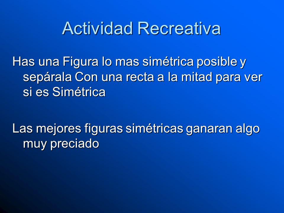 Actividad Recreativa Has una Figura lo mas simétrica posible y sepárala Con una recta a la mitad para ver si es Simétrica Las mejores figuras simétric