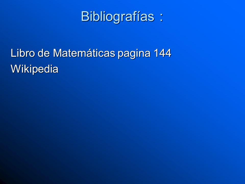 Bibliografías : Libro de Matemáticas pagina 144 Wikipedia