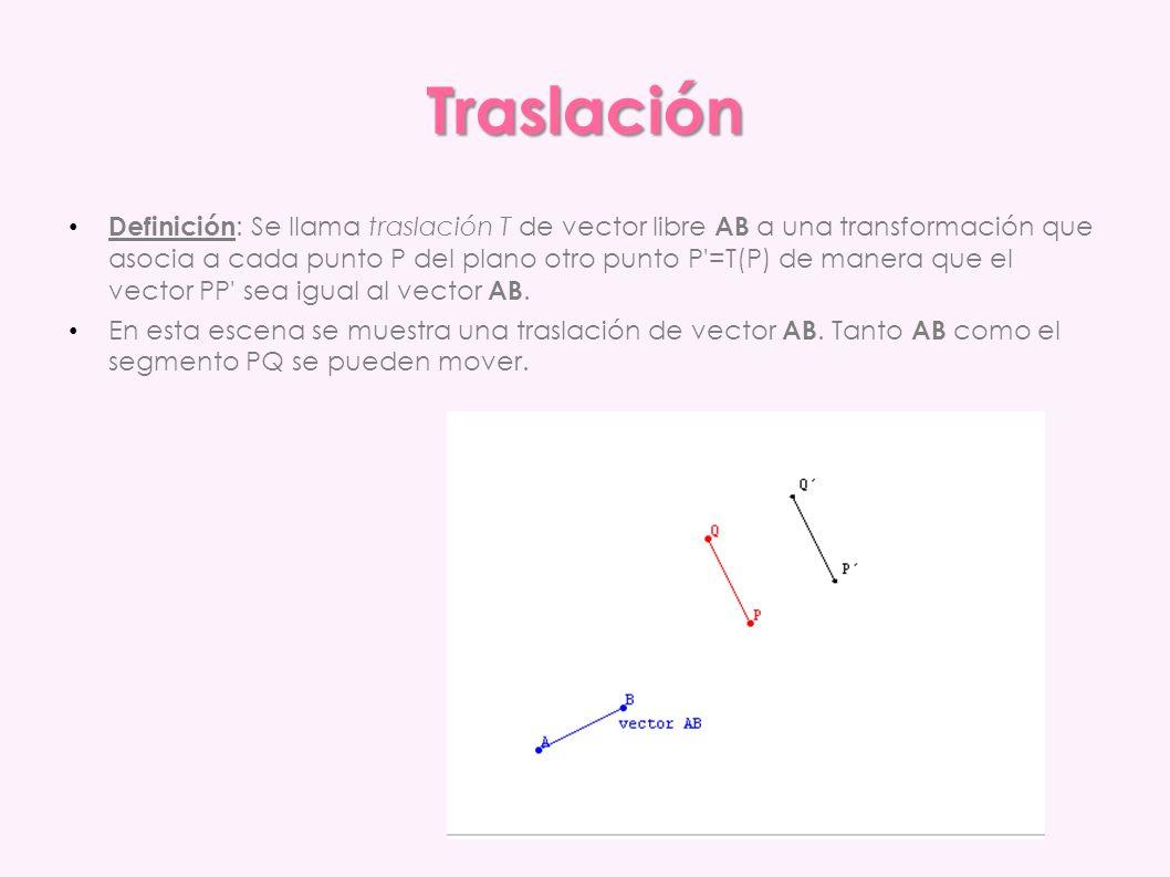Traslación Definición : Se llama traslación T de vector libre AB a una transformación que asocia a cada punto P del plano otro punto P'=T(P) de manera