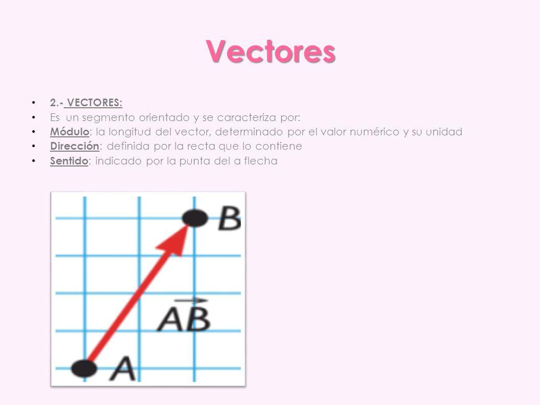 Vectores 2.- VECTORES: Es un segmento orientado y se caracteriza por: Módulo : la longitud del vector, determinado por el valor numérico y su unidad D