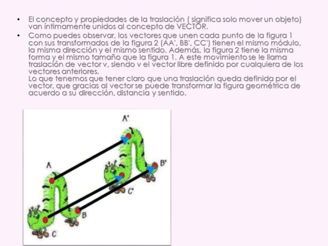 El concepto y propiedades de la traslación ( significa solo mover un objeto) van íntimamente unidos al concepto de VECTOR. El concepto y propiedades d